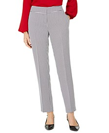 Houndstooth-Print Straight-Leg Dress Pants