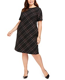 Plus Size Plaid-Printed Sheath Dress