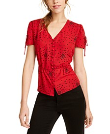 Heart-Print Button-Front Top, Created For Macy's