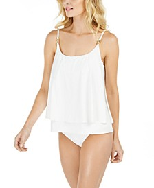 Layered Tankini Top & Shirred Bikini Bottoms