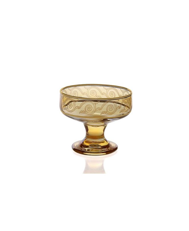 Classic Touch Set of 6 Amber Dessert Bowls with Gold-Tone Design