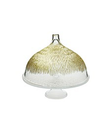Glass Cake Stand with Dome with Gold-tone Design