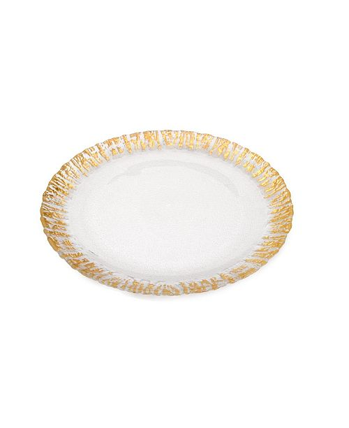 Classic Touch Set of 4 Deep Plate with Gold-tone Scalloped