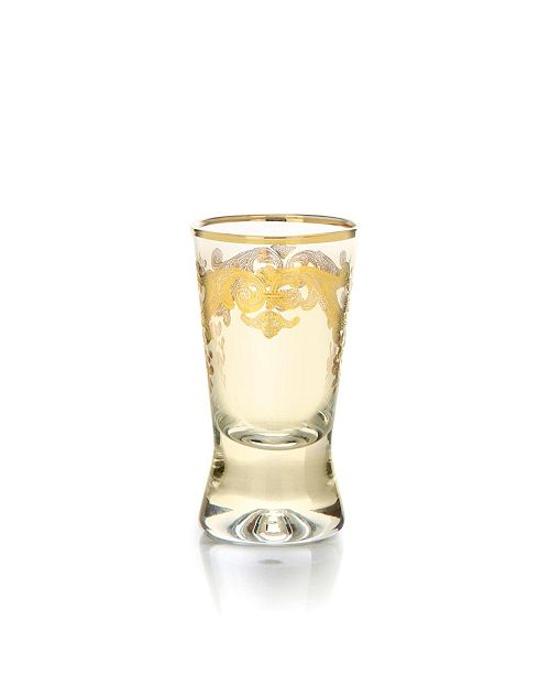 Classic Touch Amber Liquor Glasses with 24k Gold Artwork - Set of 6