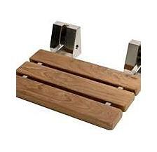 """Brushed Nickel 16"""" Folding Teak Wood Shower Seat Bench"""
