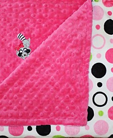 Minky Baby Girl Blanket With Embroidered Raccoon