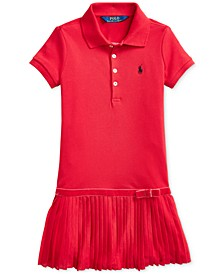 Little Girls Pleated Stretch Mesh Polo Dress