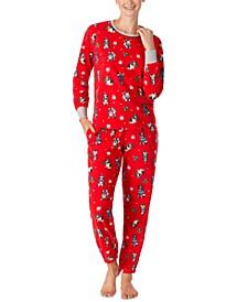 Printed Top & Bottoms Fleece Pajamas Set
