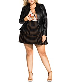 Trendy Plus Size Faux-Leather Peplum Jacket