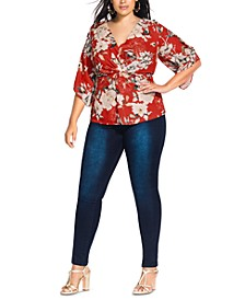 Trendy Plus Size Floral-Print Wrap Top