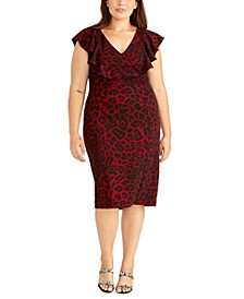 Plus Size Animal Print Ruffle Dress