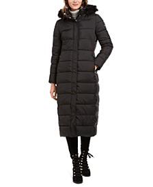 Faux-Fur-Trim Hooded Maxi Puffer Coat