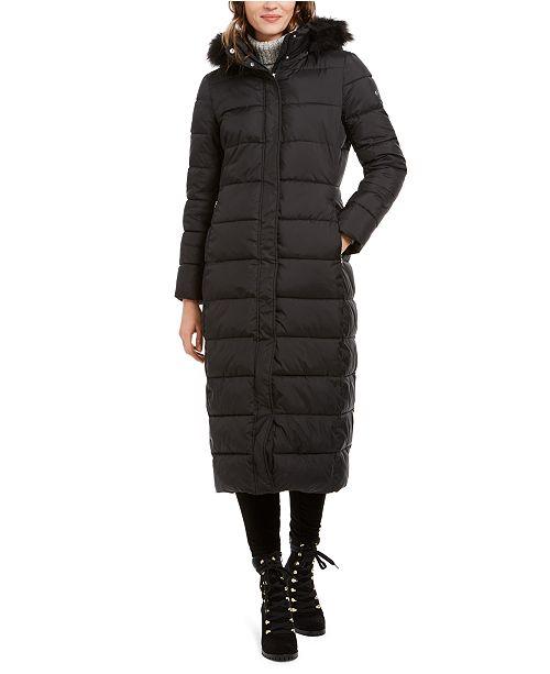 Calvin Klein Faux-Fur-Trim Hooded Maxi Puffer Coat