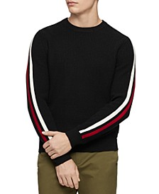 Men's Ribbed Striped-Sleeve Sweater