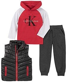 Toddler Boys 3-Pc. Black Nylon Vest, Red & White Logo Hoodie & Gray Fleece Pants Set