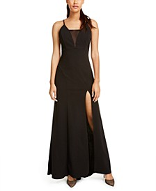 Juniors' Strappy Illusion Slit Gown