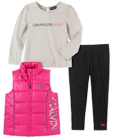 Little Girls 3-Pc. Vest, Logo Top & Printed Leggings Set