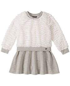 Little Girls Faux-Fur & Metallic-Fleece Dress