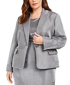 Plus Size Metallic Single-Button Blazer
