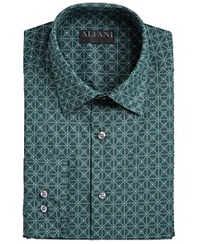 Alfani Men's AlfaTech Slim-Fit Performance Stretch Square Tile-Print Dress Shirt, Created For Macy's