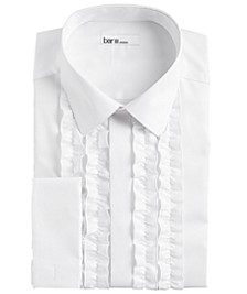 Men's Slim-Fit Performance Stretch White Ruffle French Cuff Tuxedo Shirt, Created For Macy's