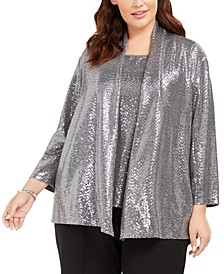 Plus Size Metallic Jacket