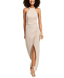 Juniors' Shimmer Halter Gown