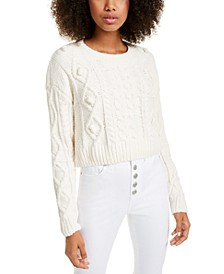 Juniors' Cropped Chenille Sweater