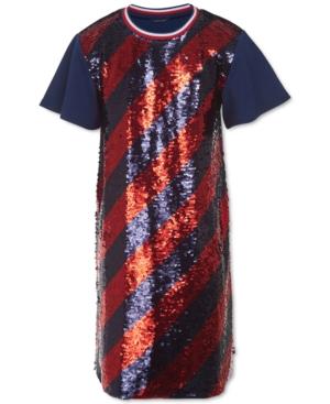 60s 70s Kids Costumes & Clothing Girls & Boys Tommy Hilfiger Big Girls Flip Sequins Dress $47.60 AT vintagedancer.com