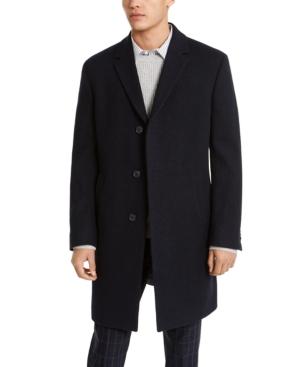 Men's Raburn Slim-Fit Navy Blue Textured Overcoat