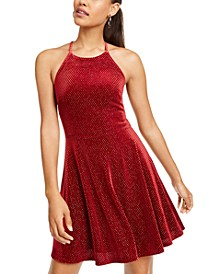 Juniors' Sparkle Halter Neck Skater Dress