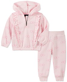 Baby Girls 2-Pc. Logo-Print Hoodie & Jogger Pants Fleece Set