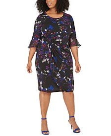 Plus Size Ruched Chiffon-Sleeve Dress