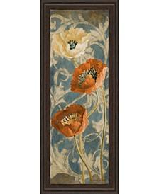 "Poppies De Bleu II by Lanie Loreth Framed Painted Print Wall Art - 18"" x 42"""