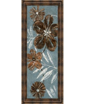"Denim Garden Il by Maria Donovan Framed Print Wall Art - 18"" x 42"""