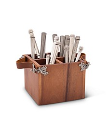Caddy Square Acacia Wood Flatware, Serve Ware, Utensil, Carry-All Holder with Solid Pewter Acorn and Oak Leaf Accent and Real Leather Handles, 4 Compartments
