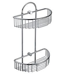 Polished Chrome Wall Mounted Double Basket Shower Shelf Bathroom Accessory