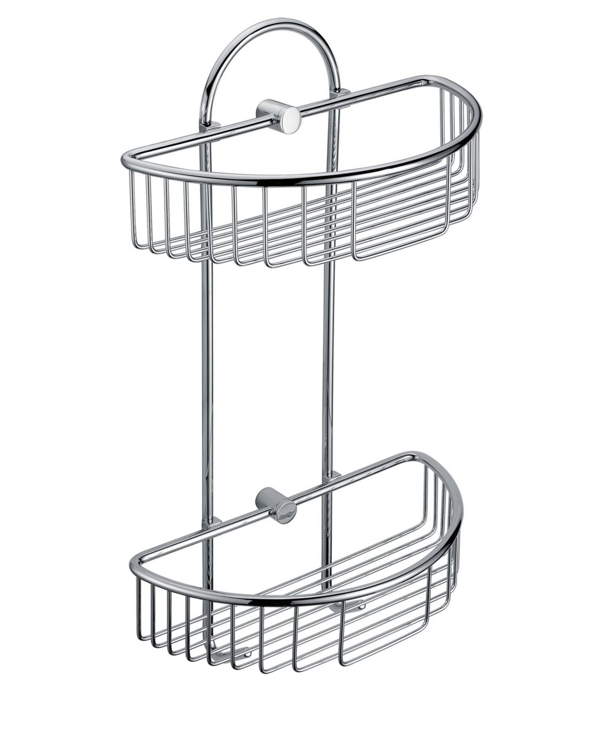 Alfi brand Polished Chrome Wall Mounted Double Basket Shower Shelf Bathroom Accessory Bedding