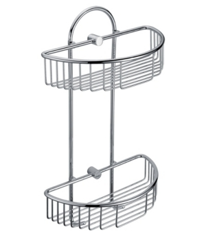 Alfi brand Polished Chrome Wall Mounted Double Basket Shower Shelf Bathroom Accessory Bedding