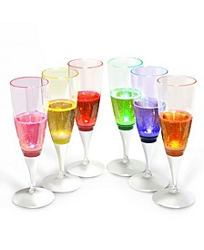 6 Set Liquid Activated Light Up Led Champagne Flute Glass