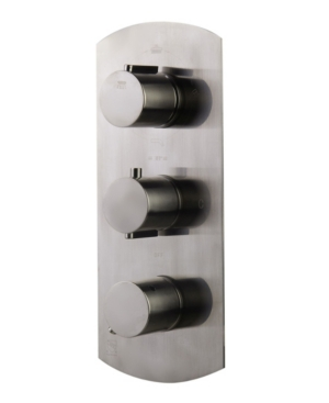 Alfi brand Brushed Nickel Concealed 4-Way Thermostatic Valve Shower Mixer with Round Knobs Bedding
