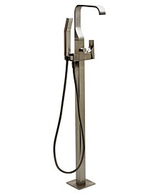 Brushed Nickel Single Lever Floor Mounted Tub Filler Mixer w Hand Held Shower Head