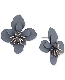 Hematite-Tone Crystal & Imitation Pearl Flower Button Earrings
