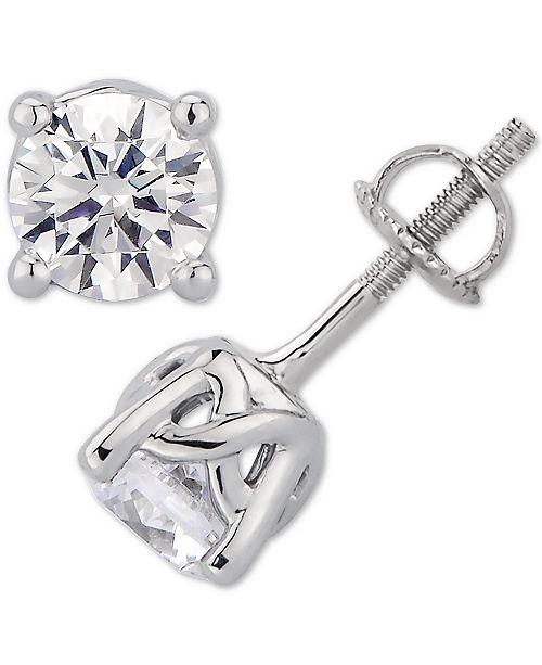 Macy's  Certified Diamond Stud Earrings (1-1/2 ct. t.w.) Stud Earrings in 14k White Gold