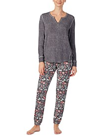 Henley & Printed Jogger Pants Pajamas Set
