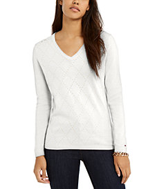 Tommy Hilfiger Ivy Studded Argyle V-Neck Sweater, Created for Macy's