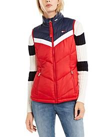 Colorblocked Zip-Up Puffer Vest