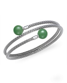 Green Jade (10 mm)  Flexible Wrap Bracelet in Sterling Silver