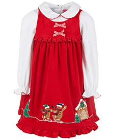 Little Girls 2-Pc. Collared Top & Corduroy Gingerbread Jumper Set