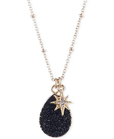 """Gold-Tone Crystal Star & Black Druzy Pendant Necklace & Phone Card Holder Set, 16"""" + 3"""" extender, Created for Macy's"""
